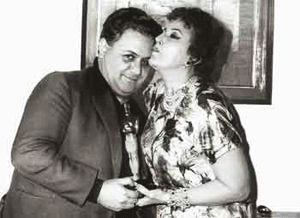 Katina Paxinou alongside renowned composer Manos Hadjidakis