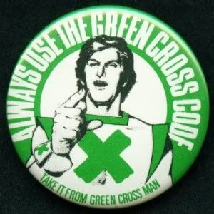 The Green Cross Code Man. He actually came to my school. Everyone got told off because they went crazy lol.