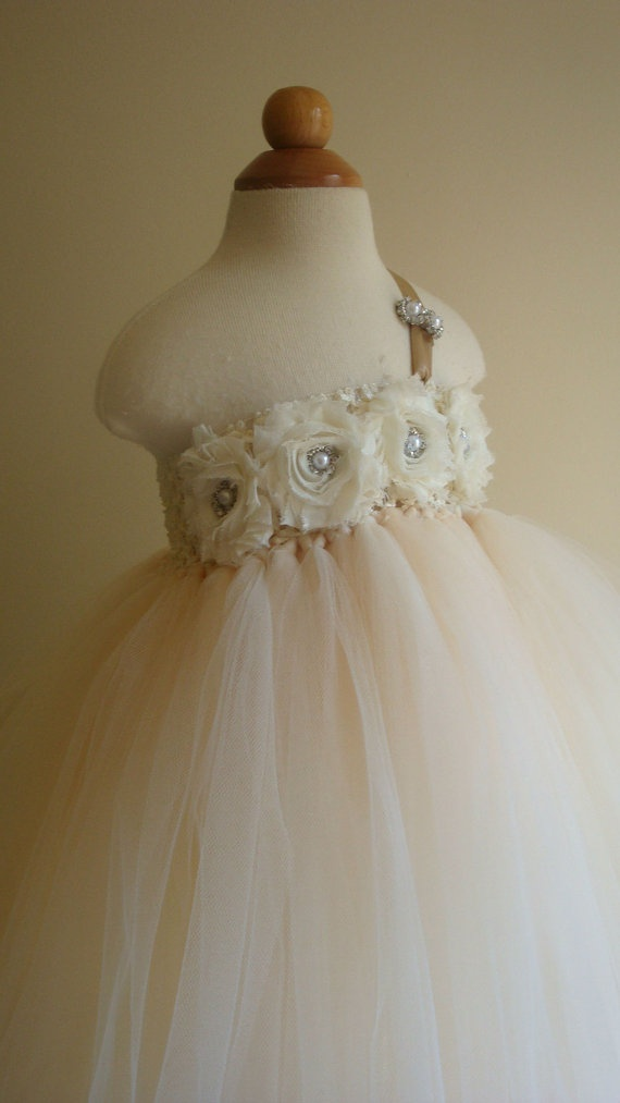 Flower girl dress Ivory Champagne tutu by Theprincessandthebou, $80.00