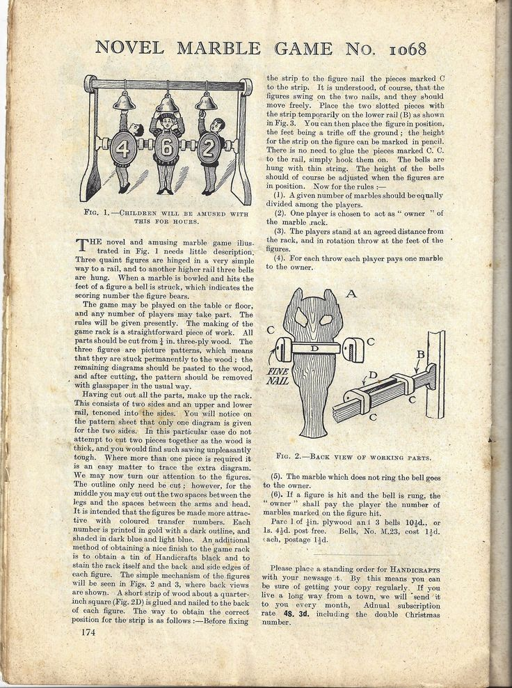 1928 Handicrafts magazine. make your own fretwork child's toy. woodwork project. page 1 of 2