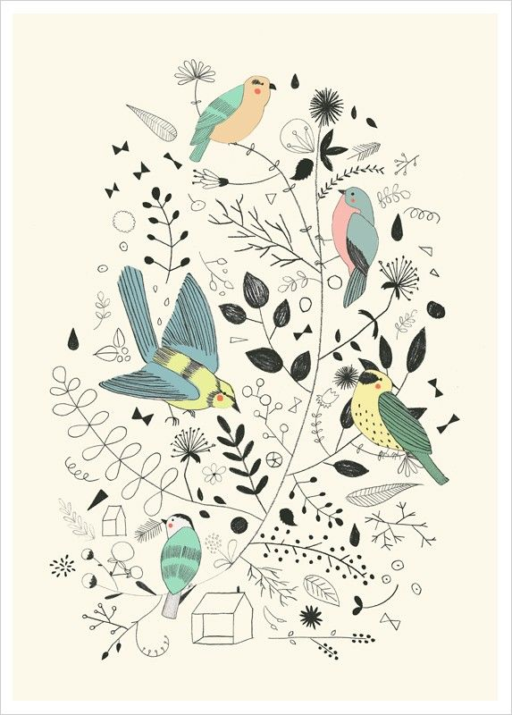 Acheter Affiche Oiseau, Illustration Déco Printemps, par Studio Meez