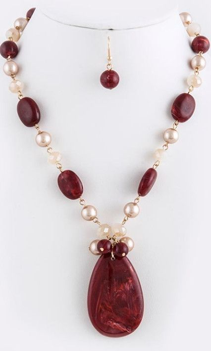 Burgundy Stone and Pearl Necklace and Earrings