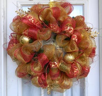 Red And Gold Christmas Holiday Deco Mesh Wreath