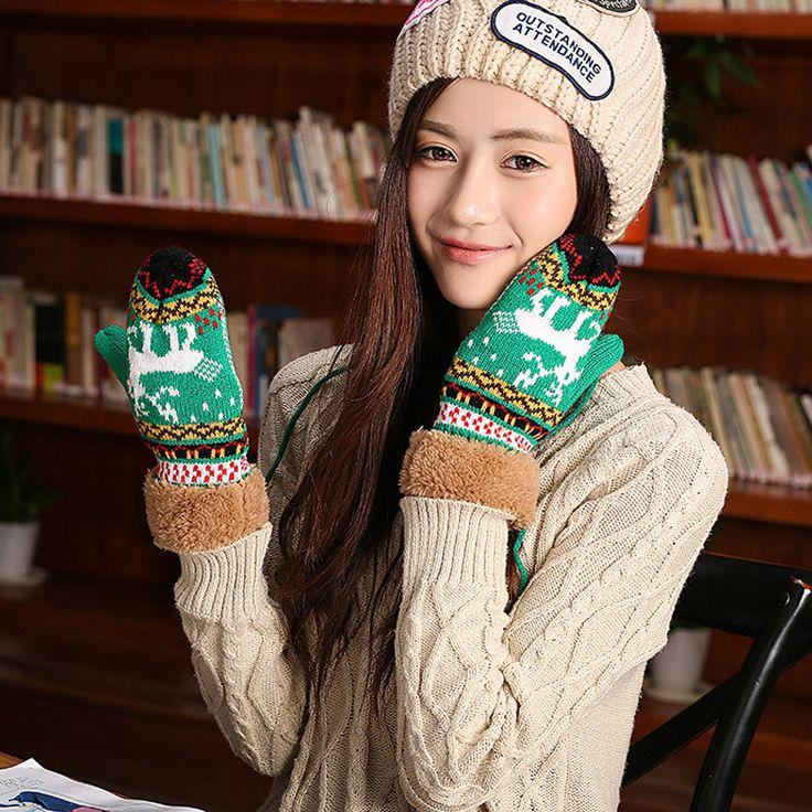 Бесплатная доставка 1 пара высокое качество мода мило палевый шерсть осень зима теплая перчатки варежки купить на AliExpress