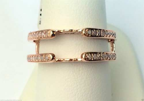 10kt Rose Gold Wrap Guard Solitaire Enhancer Diamonds Ring Antique Vintage Cathedral (0.24ctw) by RG&D #gold #diamonds #ringguard #wrap #enhancer #fashion #jewelery #love #gift #ringjacket #engagement #wedding #bridal #engaged #whitegold #yellowgold #online #shopping #jewelry #pintrest #follow #richmondgoldanddiamonds