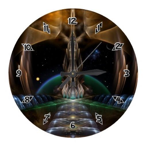 Light Spear - The Cyrineous Probe Fractal Art Round Wallclocks $28.10 - Click Here http://xzendor7.com/xzendor7-wall+clocks.php