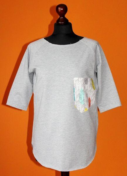 RoomStyle Bluza Siwa Melanż Kieszeń Pióra Łaty S-L w RoomStyle na DaWanda.com