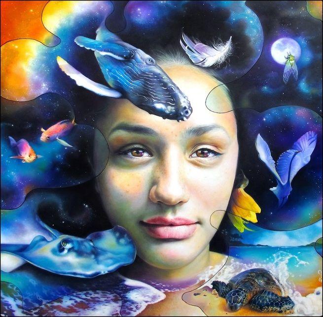 """Legacy"" oil on canvas, 122x122 cm, artist Darina Denali, www.darinadenali.co.nz"