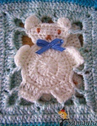 lo spazio di lilla: A gentile richiesta...la piastrellina crochet con orsetto in italiano.