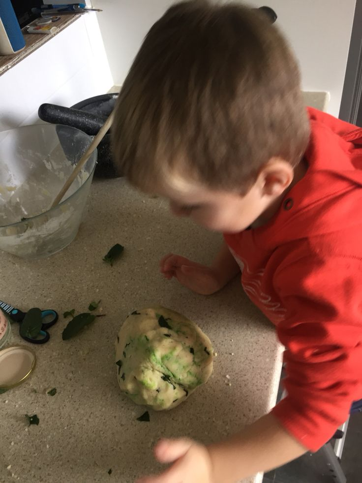 All together we ground up  rock salt, added extra coconut oil, coconut essence, some green dye, some fresh mint and now tooth picks, mint leaves and scissors have been placed on the table to extend the play