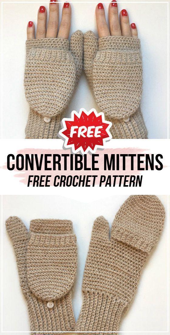 crochet Convertible Crochet Mittens free pattern