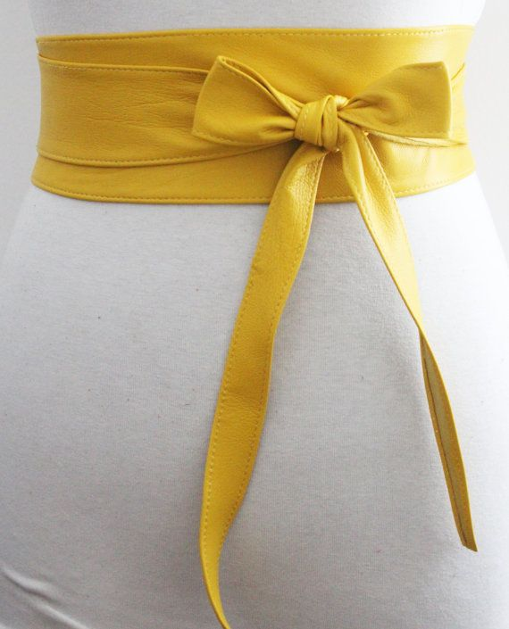 Yellow Soft Leather Obi Belt Waist Obi Belt by LoveYaaYaa