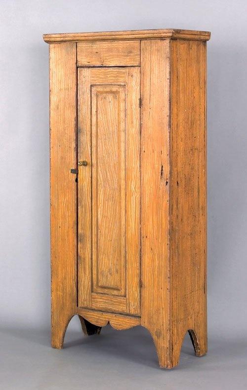 Pennsylvania painted pine chimney cupboard, 19th