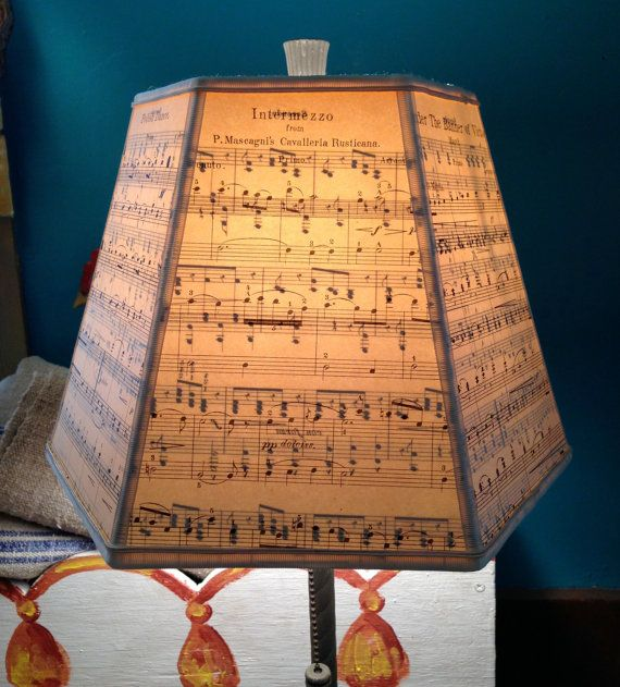 Music Lamp Shade, Paper Lampshade Vintage Sheet Music - 7x12x8 Hex Washer - Music Room Decor - For all lovers of music!
