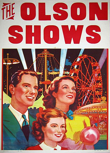 THE OLSON SHOWS CARNIVAL POSTER: Picture-Black Posters, Carnivals Posters, Magic Posters