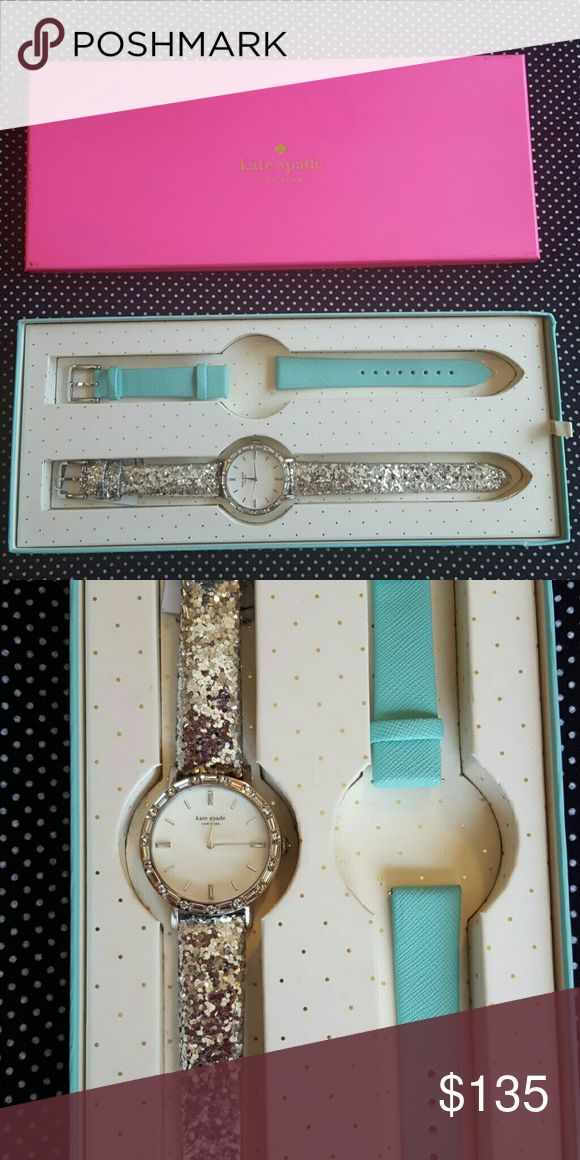 Kate Spade watch Fun and fabulous NEW Kate Spade watch. 🎀 It's like 2 watches in one with changeable bands. Tiffany blue and silver sparkle band. Silver and rhinestone detail on a pearl  face! Comes with box, tags and care booklet. Never worn, purchased as a gift😙 kate spade Jewelry