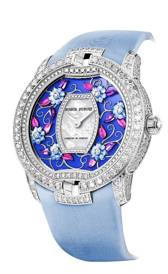 Roger Dubuis Blossom Velvet watch in blue.