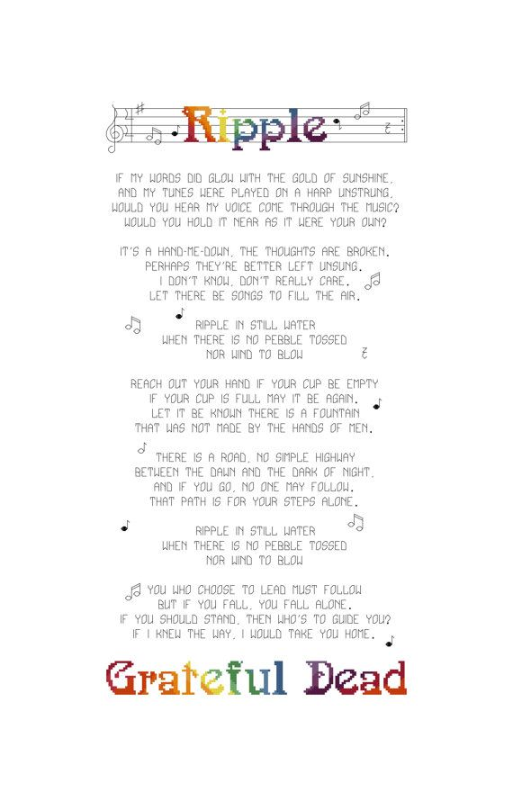 Lyrics Cross Stitch Pattern Grateful Dead by CowbellCrossStitch