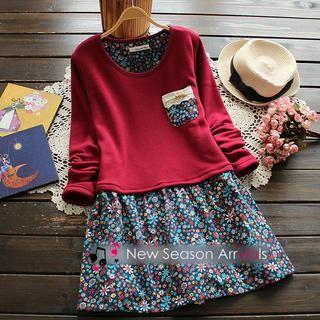 Fleece-Lined Floral-Panel Dress from #YesStyle <3 Flower Idea YesStyle.com