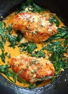 Paprika Chicken and Spinach with White Wine Butter Thyme Sauce | The Kitchen…