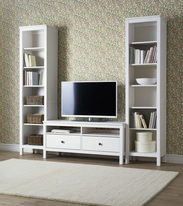 I think I'm in LOVE! This looks so much for space efficient than my current bulky entertainment center.  HEMNES- solid wood, naturally timeless.
