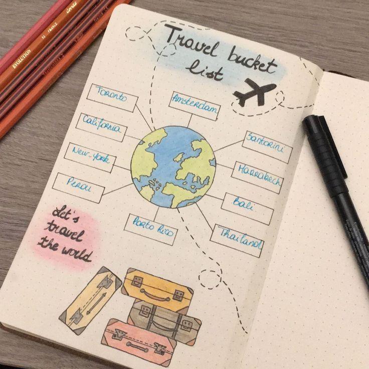 Ist dein Ziel zu reisen? Dann werden Sie diese großartige BULLET JOURNAL TRAVEL-Seite lieben … – k