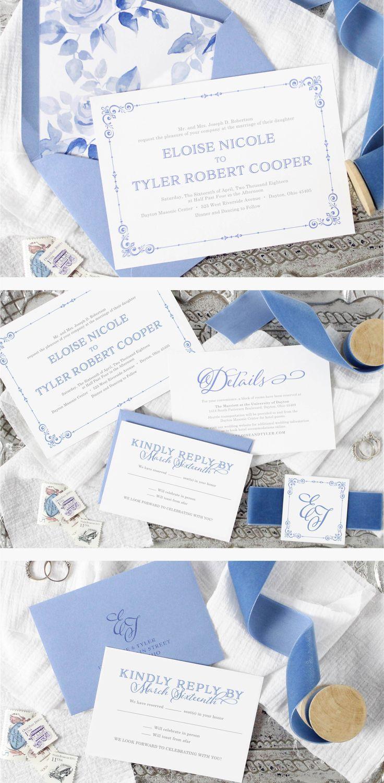 Eloise Wedding Invitation | Classic, elegant wedding invitation suite. Dusty blue wedding inspiration. #weddingstationery #weddinginvitations #invitations
