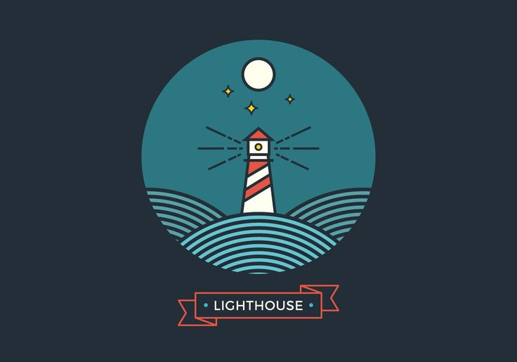 Line Lighthouse Vector Graphic — searchlight, silhouette, navigation, landscape, building, template, nautical, abstract, insignia, landmark, hipster, contour, sailing, outline, concept, stroke, symbol, linear, travel, signal, emblem, badge, tower, water, shore, night, shine, light, label, ocean, beach, wave, star, logo, icon, sea, bay