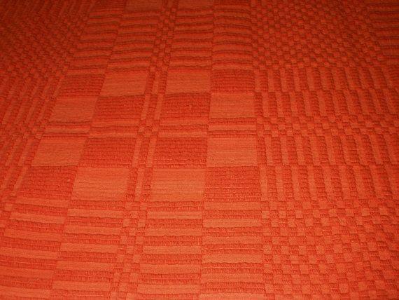 Orange!!! Tablecloth or Bedspread... #Vintage #Geometric #Orange #Tablecloth, #Bedspread #Greek #Handwoven #BasRelief #Cotton #HomeDecor #Kitchen #Bedroom #cottageChic #country #homeDecor #mediterranean by #VintageHomeStories