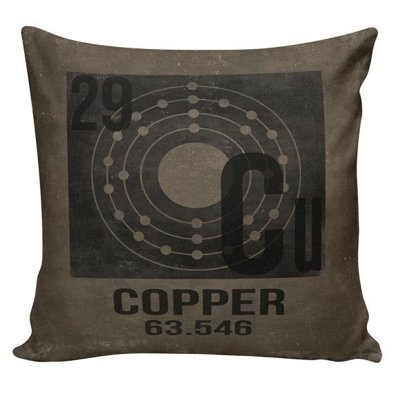 Decorative Cotton Pillow Cover Cushion Copper Periodic Table of Elements by WattsonandBulb Geek Science Nerd Decor Black Mink Distressed Restoration Hardware Style
