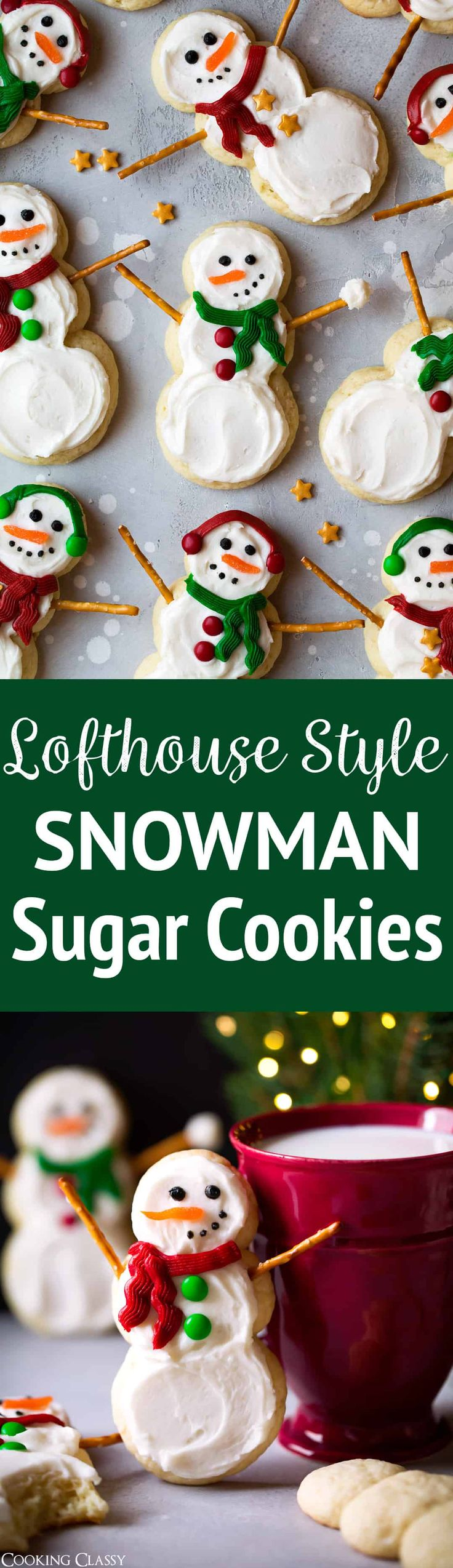 Lofthouse Style Snowman Sugar Cookies - One of the best Christmas cookies I've had! Fun to make, so delicious and just too cute. They would be the perfect gift to give this year.