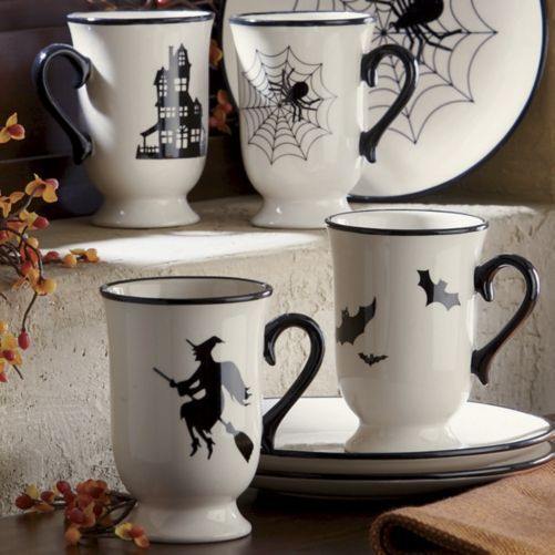 Set of 4 Halloween Mugs & dessert plates from Through the Country Door®