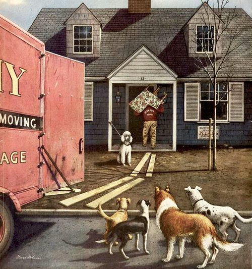 New Dog In Town, art by Stevan Dohanos.  Detail from cover of March 21, 1953 Saturday Evening Post.