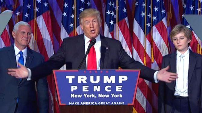 Het is officieel: Donald Trump wordt de 45e Amerikaanse president. Hij heeft de grens van 270 kiesmannen overschreden. Na een razend spannende verkiezingsnacht blijkt dat de peilingen, die Clinton een duidelijke voorsprong gaven, ernaast zaten. De 70-jarige Trump wordt de oudste president ooit in het Witte Huis.