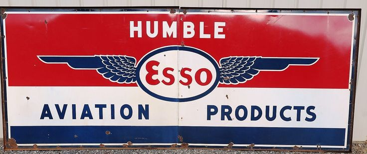 Esso Aviation Porcelain Enamel Sign With Wings Airport Sign
