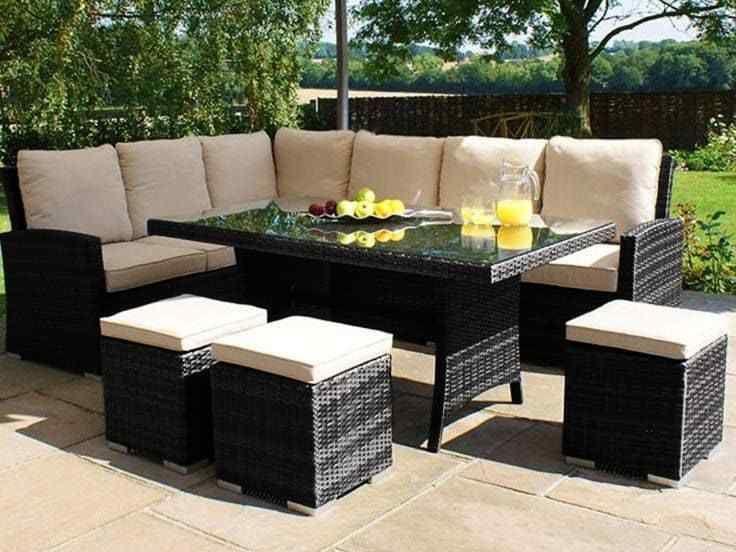 Rattan Corner Garden Sofa Dining Table