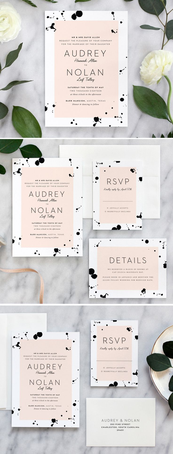Artistic and modern wedding invitation suite by