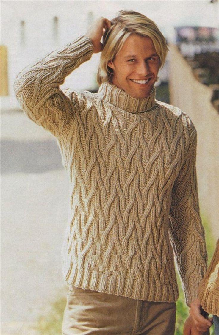 Мужской бежевый свитер с рельефным узором, вязаный спицами
