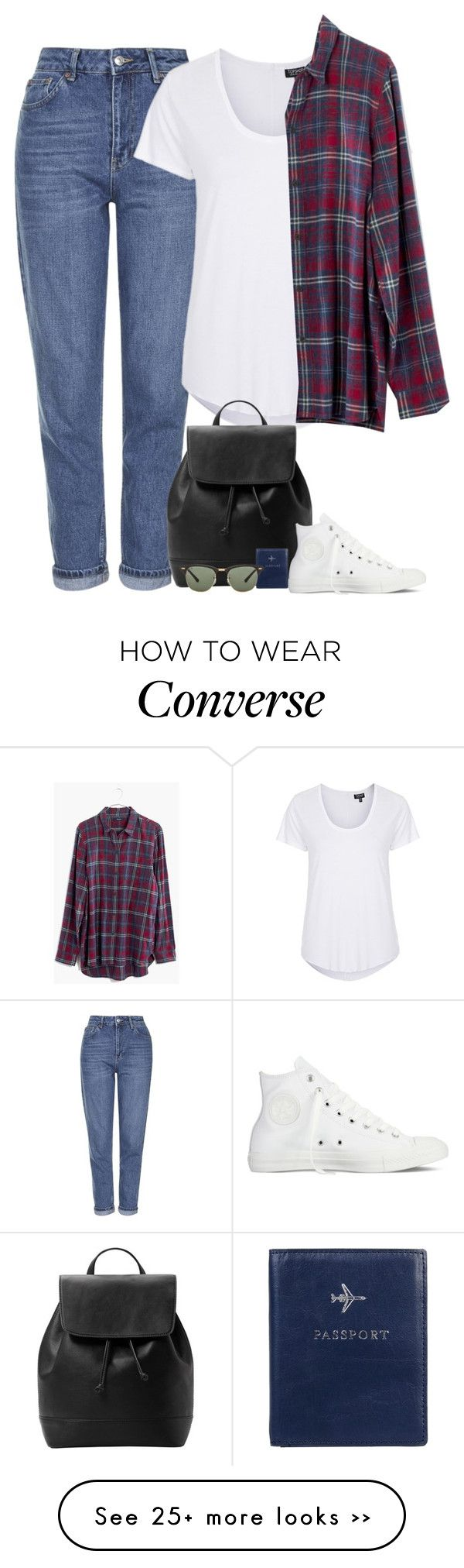 """""""Untitled #5495"""" by fanny483 on Polyvore featuring Topshop, Madewell, MANGO, Converse, FOSSIL and Ray-Ban"""