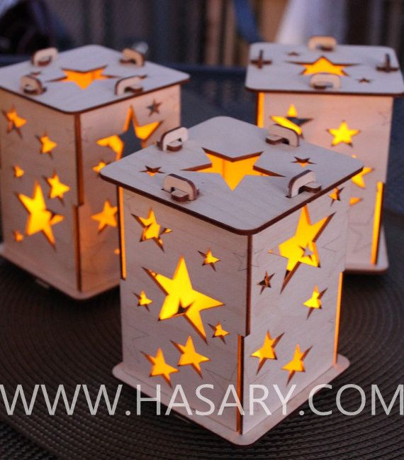 Laser Cut Wood Craft Star Tealight Lamps