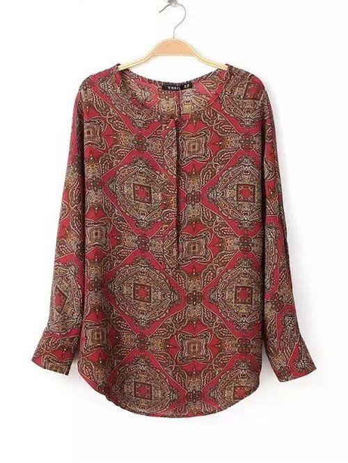 Women fashion vintage round neck long sleeve shirts CY-B1025C12