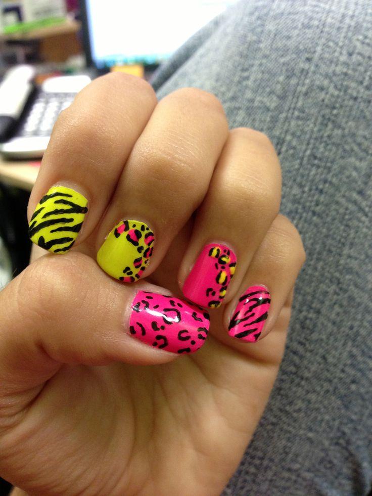 Neon, animal print, summer nail design :)