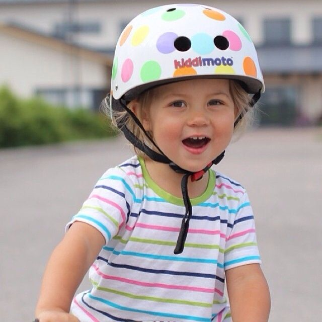 Have helmet, will ride! Pastel Dotty Helmet by Kiddimoto   http://www.cyclestyle.com.au/product/kiddimoto-pastel-dotty-helmet/ $59.95