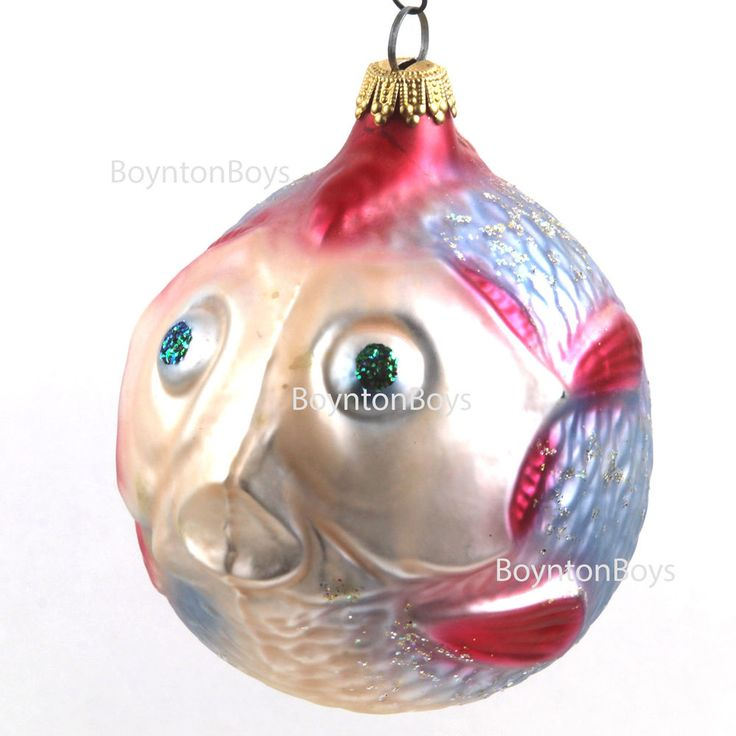 Lauscha Glas • German • Large Puffer Fish • Christmas Ornament • Blown Glass