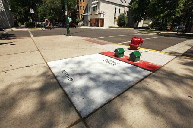 Street Artist Bored Turns Chicago Sidewalks into an Alternative Monopoly GameStreet Artists, Games Piece, Real Life, Chicago Art, Monopoly Games, Games Boards, Boards Games, Life Size Games, Streetart