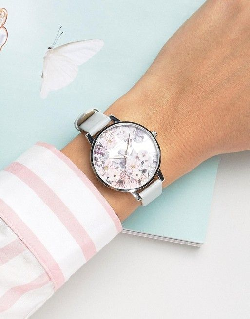 Olivia Burton vegan leather watch with floral face – it's Spring time!