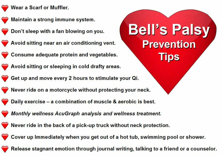 Quick Tips to help you prevent Bell's Palsy.  **http://www.miridiatech.com/news/2014/02/bells-palsy-part-3-bonus/