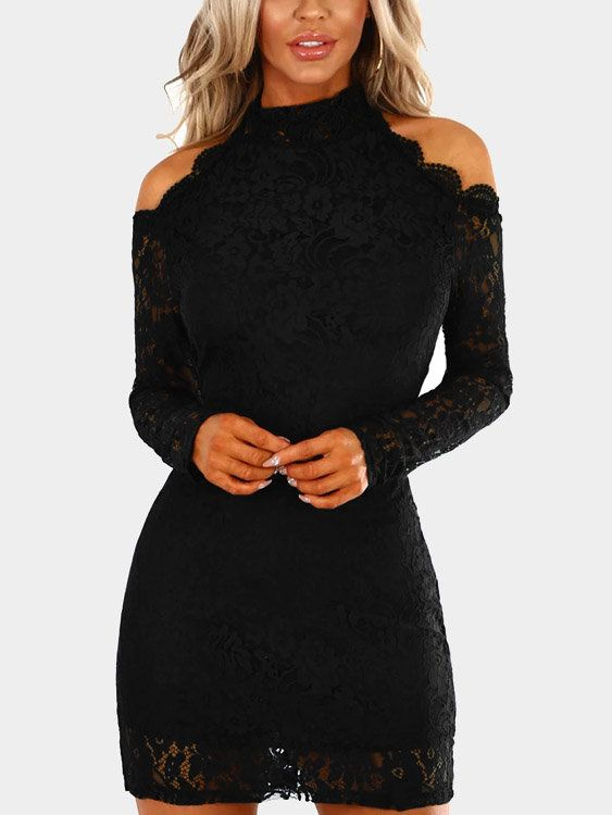 Up your lace game with this gorgeous black lace mini dress. This navy mini dress is fully lined with a lace overlay, long sleeves, hollow out and cold shoulder. With concealed zip fastening at the back. Team with nude heels to complete your look.