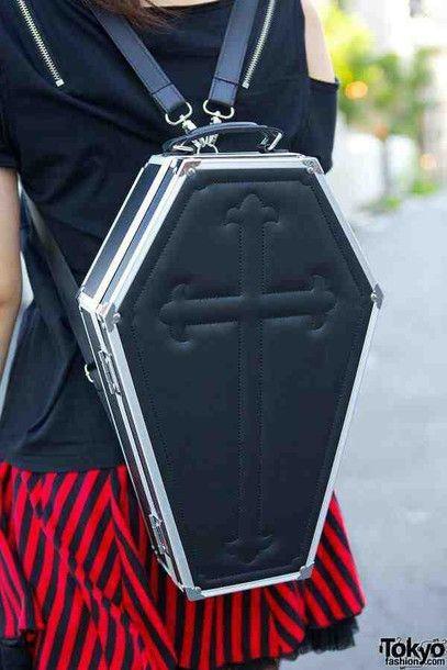 Bag: black, leather, goth, coffin, death, creepy, pastel goth, nu goth - Wheretoget