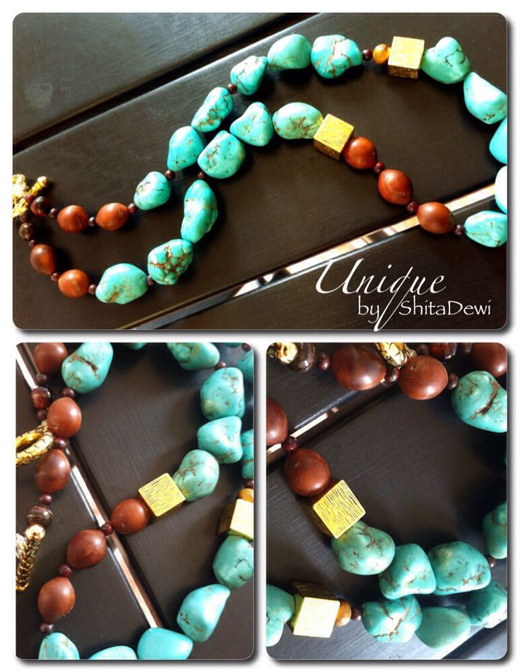Uniquely made from tumble Turquoise, rd 8mm Tiger Eye, rd 3mm Breciated Jasper, Arabian wood beads, 63cm length, code #SP-02 Turquoise are known as sacred stones, especially in Middle East       Combination of grace, natural beauty, and gemstones that absorbs negativity, transmuting it into useful energy    IDR 257.000 include A Batik jewelry box Order:uniquely.handmade168@gmail.com